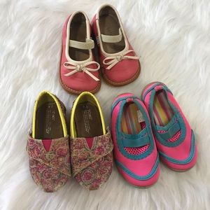 Bundle of toddler girl shoes Toms